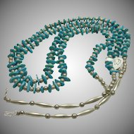 Two String Necklace of Alternating Turquoise Beads and Silver beads