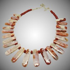 Moroccan Agate and Red Jasper Necklace