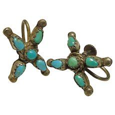 Vintage Screw Back Earrings with Turquoise Cabochons
