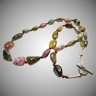 Tourmaline Nugget and Red Garnet Bead Necklace