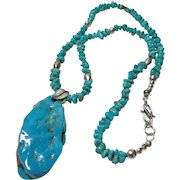 Chinese Turquoise Pendant on Necklace of American Turquoise Nuggets