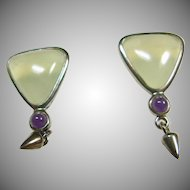 Triangular Shape Fluorite in Sterling Silver Earrings