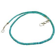 Kingman Turquoise Rondelle Necklace