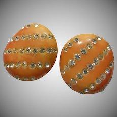 Orange Bakelite and Rhinestone Earrings