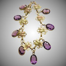 Vintage Link  Bracelet with Two Color Gold Over Brass Links and Amethyst Glass Drops