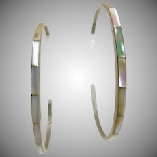 Two Narrow Sterling Cuff Bracelets with MOP Inlay