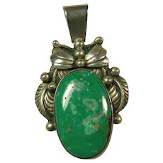 Sterling Silver Pendant with Blue Green Turquoise