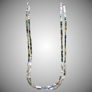 Double Strand of MOP and Sterling Silver Necklace