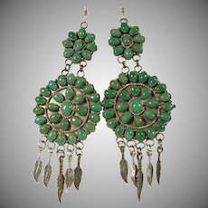 Green Turquoise Double Cluster Sterling Silver Earrings