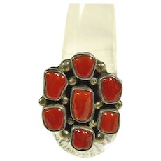 Red Coral Cluster Ring in Sterling Silver