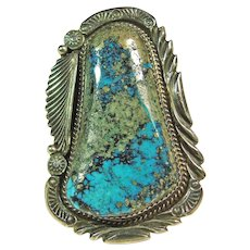 Custom Sterling Silver Ring with Morenci Turquoise