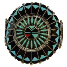 Benj and Shirly Tquni Zuni Sunface Inlay Bracelet - Red Tag Sale Item