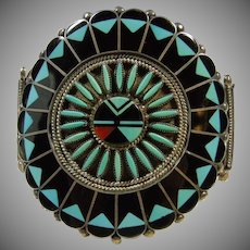 Benj and Shirly Tquni Zuni Sunface Inlay Bracelet