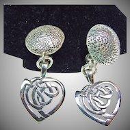 Sterling Silver Clip Earrings with Heart Shape Drop