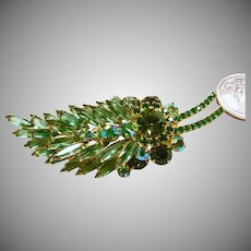 Juliana Feather Shape Brooch in Emerald Green and Peridot Rhinestones