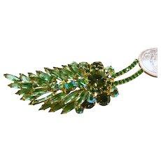 Juliana Feather Shape Brooch in Emerald Green and Peridot Rhinestones