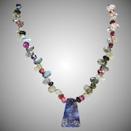 Labradorite Tourmaline Necklace with Boulder Opal Pendant