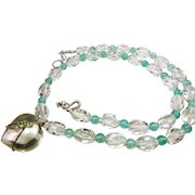 Apatite and  AAA Quartz Crystal Bead Necklace with Pool of Light Heart Shape Pendant