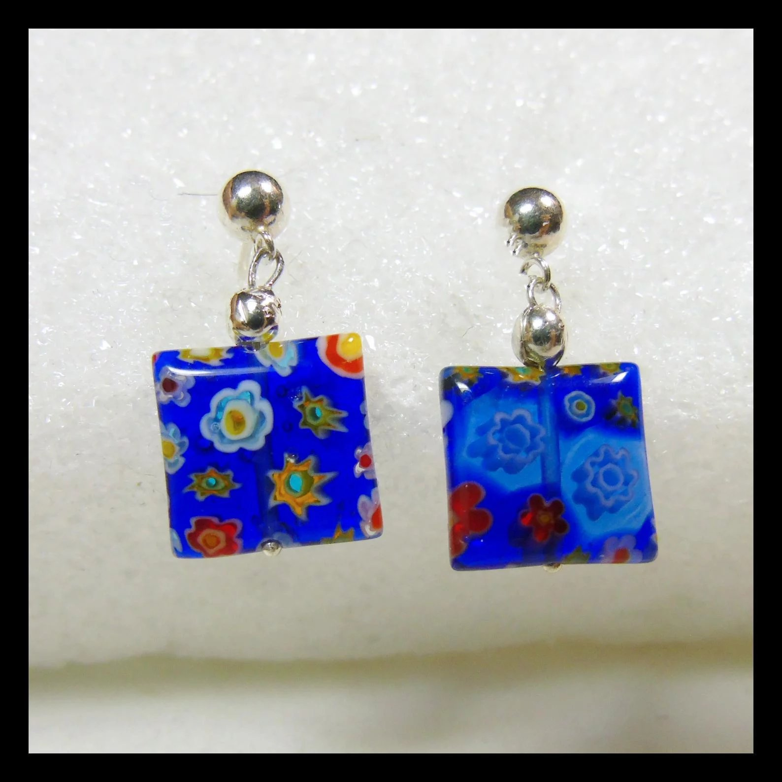 earrings glass fire blue new mary cool light crafty double totally