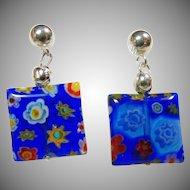 Venetian Cobalt Blue Glass Earrings