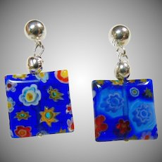 Venetian Cobalt Blue Glass Earrings