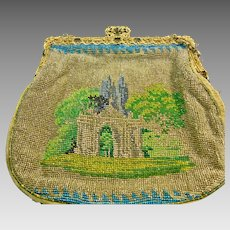 Vintage Scenic Double Side Beaded Purse