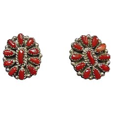 Sterling Silver Clip Earrings with Red Coral Cluster