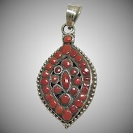 Sterling Silver Red Coral Pendant