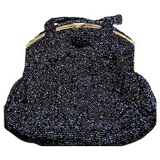 Vintage Furman Purse with Dark Blue Carnival Glass Beaded Exterior