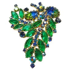 Blue Green WaterMelon Rhinestone Brooch