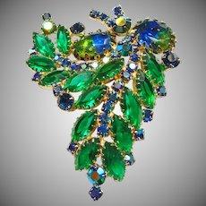 Blue Green WaterMelon Rhinestone Brooch
