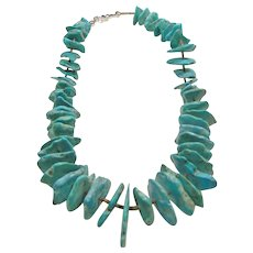 Necklace of Natural Turquoise Separated by Shell Heishi