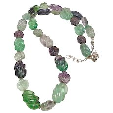 Carved Fluorite Bead Necklace