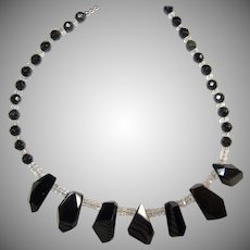 Rainbow Obsidian and Natural Rock Crystal Necklace