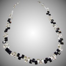 Deco Crystal and Black Onyx Necklace