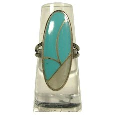 Sterling Silver with Elongated Oval Shape Covered with Turquoise and MOP Inlay