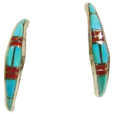 Sterling Silver 1/2 Hoop Earrings with Turquoise and Coral Inlay