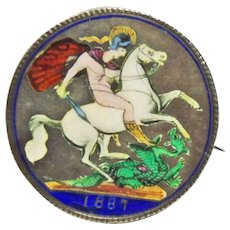 Antique 1887 Enamel Saint George Dragon Slayer Queen Victoria Brooch Coin,