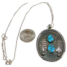 Sterling Silver Turquoise Pendant on Sterling Silver Chain
