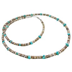 Shell Heishi and Turquoise Necklace