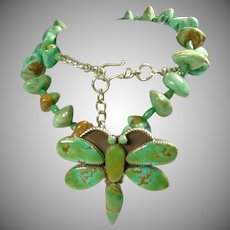Royston Turquoise DragonFly Pendant on Necklace of Green Turquoise Nuggets