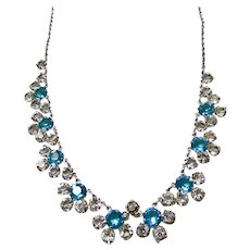 White Gold Filled Aqua and Clear Crystal Necklace