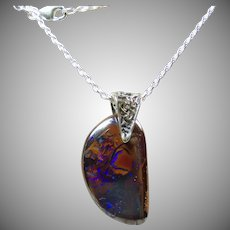 Yowah Broad Flash Boulder Opal on Sterling Silver Twisted Rope Chain