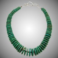 Blue Green Turquoise Rondell Necklace