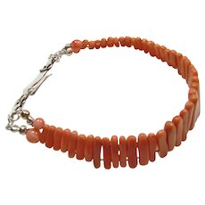 Victorian Coral Bracelet with New Sterling Clasp