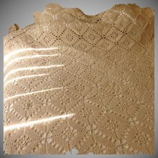 Hand Crocheted Large Ecru Table Cloth/ Bedspread