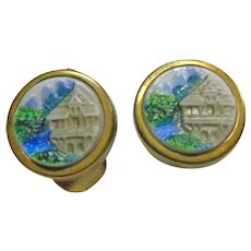 Unique Brass Cuff Links with Three Dimensional Pictorial Scene