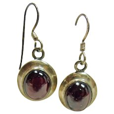 Sterling Silver and Garnet Cabochon Earrings