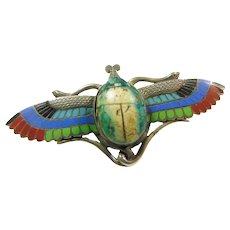 1920s Silver Enamel Winged Scarab Pin/Brooch