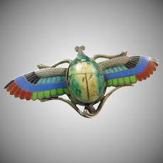 1920s Silver Enamel Winged Scarab Pin/Brooch